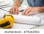 hands of engineer working with...   Shutterstock . vector #674262061