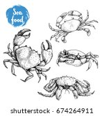 Crab Sketch Set. Hand Drawn...