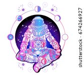 astronaut in the lotus position ... | Shutterstock .eps vector #674266927