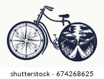 bicycle tattoo art. symbol of... | Shutterstock .eps vector #674268625