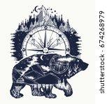 bear double exposure  compass ... | Shutterstock .eps vector #674268979