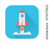 rocket flat icon. rocket launch ... | Shutterstock .eps vector #674275621