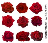 Stock photo collage of red roses isolated on white background 674276494