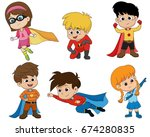 set of kids wearing superhero... | Shutterstock .eps vector #674280835
