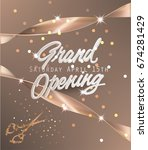 grand opening beige banner with ... | Shutterstock .eps vector #674281429