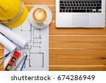 architect desk project in... | Shutterstock . vector #674286949