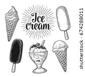 set ice cream in the cone  bowl ... | Shutterstock .eps vector #674288011