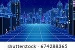 retro futuristic skyscraper... | Shutterstock . vector #674288365
