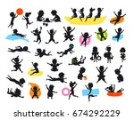 silhouettes set of summer time... | Shutterstock .eps vector #674292229