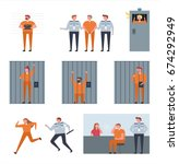 situation of prison vector... | Shutterstock .eps vector #674292949