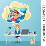 businesswoman working in office ... | Shutterstock .eps vector #674295754
