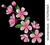 cherry blossom embroidery... | Shutterstock .eps vector #674296465