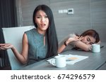 bored business woman and... | Shutterstock . vector #674296579