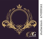 golden vector monogram.... | Shutterstock .eps vector #674300161
