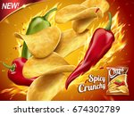spicy potato chips ad  chips... | Shutterstock .eps vector #674302789