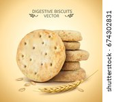 digestive biscuits element ... | Shutterstock .eps vector #674302831
