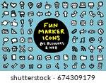 hand drawn marker style blogger ... | Shutterstock .eps vector #674309179