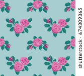 roses embroidery seamless... | Shutterstock .eps vector #674309365