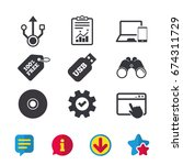 usb flash drive icons. notebook ...