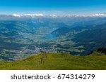 the top of rigi kulm mountain.... | Shutterstock . vector #674314279