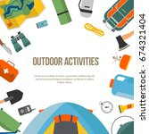 set of camping and tourism on... | Shutterstock .eps vector #674321404