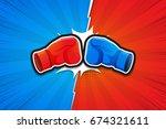 Stock vector fighting background boxing gloves versus vector illustration 674321611
