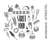street food hand drawn doodle... | Shutterstock .eps vector #674321701
