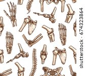 human skeleton bone seamless... | Shutterstock .eps vector #674323864