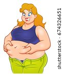 funny cartoon fat woman on the... | Shutterstock .eps vector #674326651