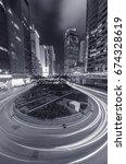 night traffic in hong kong city | Shutterstock . vector #674328619
