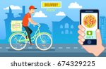 italian pizza delivery poster... | Shutterstock .eps vector #674329225