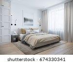 Stock photo urban contemporary modern scandinavian bedroom interior design mock up gray and white wall d 674330341