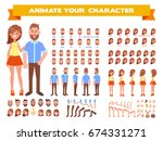 front  side  back view animated ... | Shutterstock .eps vector #674331271