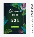set of summer sale banners ... | Shutterstock .eps vector #674335861