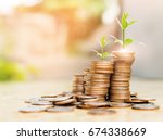 step of coins stacks with tree... | Shutterstock . vector #674338669