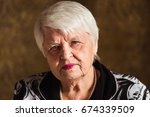 portrait of an old woman  | Shutterstock . vector #674339509
