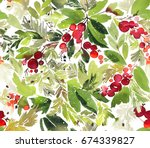 seamless watercolor christmas... | Shutterstock . vector #674339827