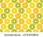 fruit seamless background with... | Shutterstock .eps vector #674343841
