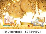 yummy crackers ad  close up... | Shutterstock .eps vector #674344924