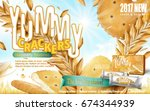 yummy crackers ad  close up... | Shutterstock .eps vector #674344939