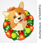 cute welsh corgi dog and... | Shutterstock .eps vector #674344951