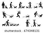 man walking dog. stick figures... | Shutterstock . vector #674348131