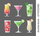 flat style cocktail menu design | Shutterstock .eps vector #674352481