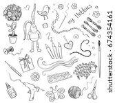 vector collection hand drawings ... | Shutterstock .eps vector #674354161