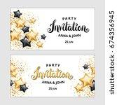 gold star balloon invitation | Shutterstock .eps vector #674356945