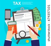 tax calculation   budget and... | Shutterstock .eps vector #674357101