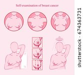 self examination of breast... | Shutterstock .eps vector #674363731