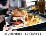 homemade hamburger with beef...   Shutterstock . vector #674364991