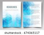light blue hexagons and... | Shutterstock .eps vector #674365117