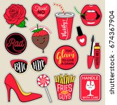 set of fashion patches  cute... | Shutterstock .eps vector #674367904